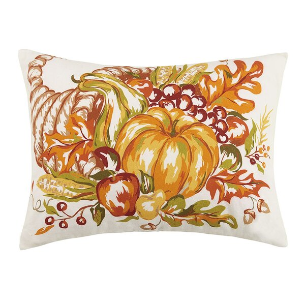 Fall Cornucopia and Pumpkin Sunflower 100% Cotton Lumbar Pillow by The Holiday Aisle